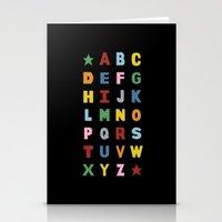Alphabet On Black Stationery Cards