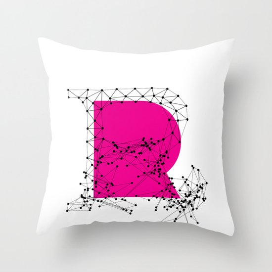 R (abstract geometrical type) Throw Pillow