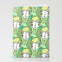 Alien Days Pattern Green Stationery Cards