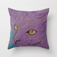 Purple Sphynx Throw Pillow