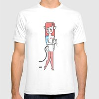 Cat Girl And Fat Mouse Mens Fitted Tee White SMALL