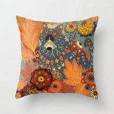 Foliage Cat Throw Pillow