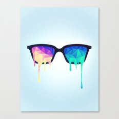 Psychedelic Nerd Glasses with Melting LSD/Trippy Color Triangles Canvas Print