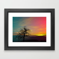 Old tree and colorful sundown panorama | landscape photography Framed Art Print