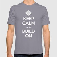 Keep Calm And Build On Mens Fitted Tee Slate SMALL