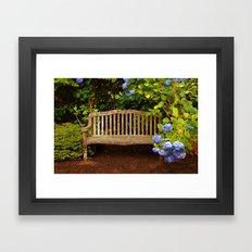 Bench in Blue Framed Art Print