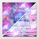 Girly Purple Pink Nebula Space White Tribal Aztec Canvas Print