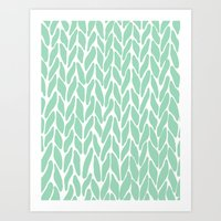 Hand Knitted Mint Art Print
