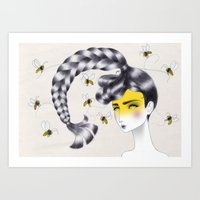 bee Art Prints featuring Bee by Elena Mir