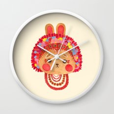 The Flower Crown Bunny Wall Clock