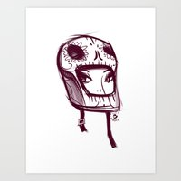 Skully Helmet Art Print