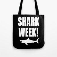 Shark week (on black) Tote Bag