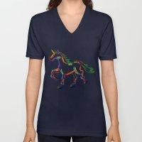 Colored Lines Unicorn Unisex V-Neck