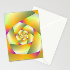 Yellow Pink and Green Spiral Stationery Cards