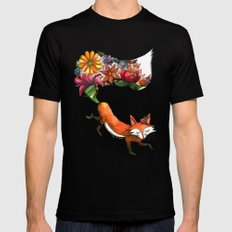 Hunt Flowers Not Foxes Mens Fitted Tee Black SMALL