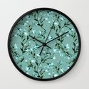Blue flowers pattern Wall Clock