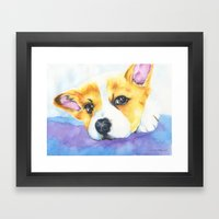 Corgi Love Framed Art Print