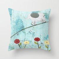 Baby Elephant Walk II Throw Pillow