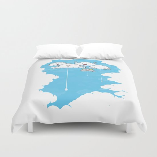 Young Clouds fooling around Duvet Cover
