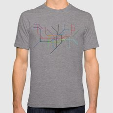 London tube Mens Fitted Tee Tri-Grey SMALL