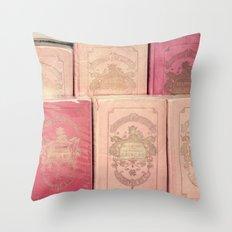 Paris Pink Books Throw Pillow