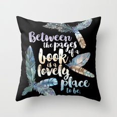 Between The Pages - Feathery Black Throw Pillow