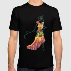 Female Floral Mens Fitted Tee SMALL Black