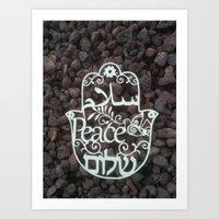 Hamsa paper cut -peace in 3 languages Hebrew, Arabic and English wall decor Art Print