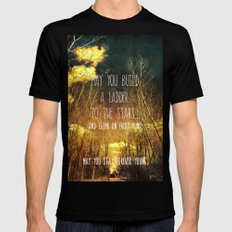May You Stay Forever Young Black SMALL Mens Fitted Tee