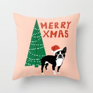 Boston Terrier Xmas - Ch… Throw Pillow