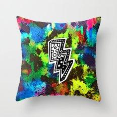 Neon Lightning Throw Pillow