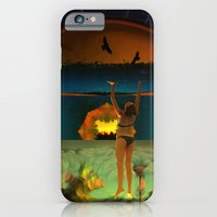 iPhone Cases featuring Hanging on is often tricky when the sky descends too quickly by Donuts