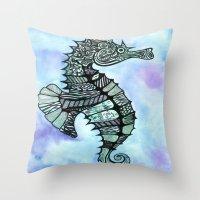 Tatoo Seahorse Throw Pillow
