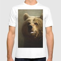 Brown Bear Mens Fitted Tee White SMALL