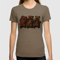 STAR WARS The Three Wise Ewoks Womens Fitted Tee Tri-Coffee SMALL