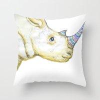 Striped Rhino Illustration Throw Pillow