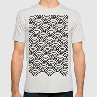 Waves All Over - Black A… Mens Fitted Tee Silver SMALL