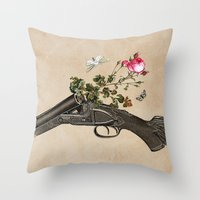 One Gun, One Rose, Two M… Throw Pillow