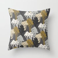 Arboreal Silhouettes - Golds & Silvers Throw Pillow