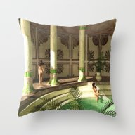 Greek Bath Beauties Throw Pillow