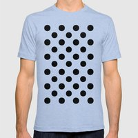 Polka Dots. Mens Fitted Tee Tri-Blue SMALL