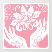Pink Lotus And Hands Canvas Print
