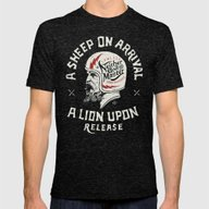 A Sheep On Arrival /Helm… Mens Fitted Tee Tri-Black SMALL