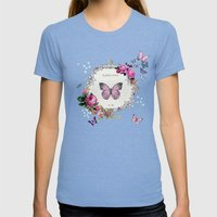 Papillons Womens Fitted Tee Tri-Blue SMALL