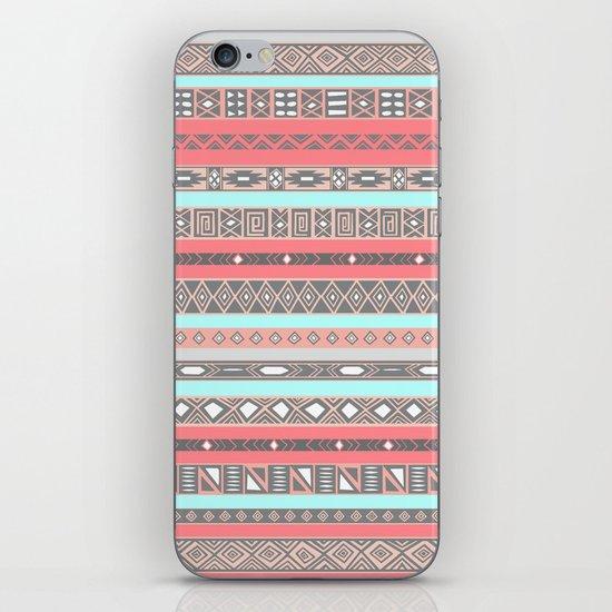 Peach Rose Baby Blue Aztec Tribal Native Pattern iPhone & iPod Skin