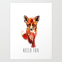 Cute Little Red Fox water colour ink Art Print