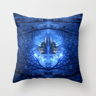 Wintery Abstract Forest Throw Pillow