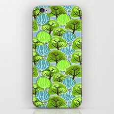 Retro Trees, in blue and green iPhone & iPod Skin