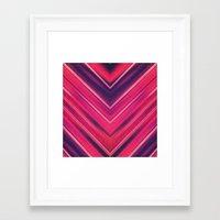 Modern Red / Black Stripe Abstract Stream Lines Texture Design (Symmetric edition) Framed Art Print