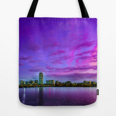 Sun dusk over Boston Tote Bag